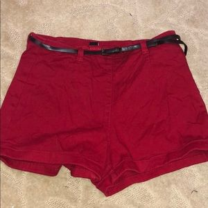 Forever 21 | Belted Red High Waisted shorts